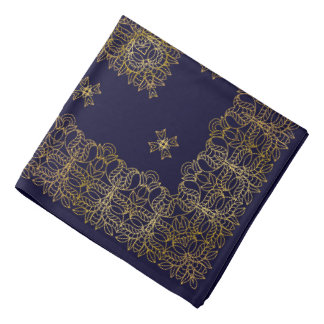Gold pattern on a blue background bandana