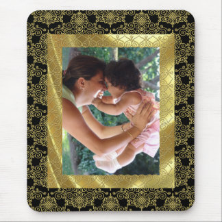 Gold Pattern Photo Frame Mouse Mat