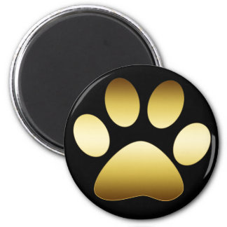 GOLD PAW PRINT 6 CM ROUND MAGNET