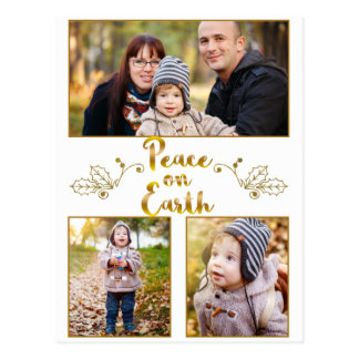 Gold Peace on Earth Calligraphy 3 Photo Card