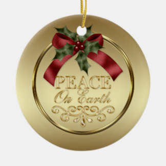 Gold Peace on Earth Red Green Ribbon Holly Berries Christmas Ornament