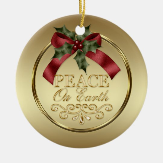 Gold Peace on Earth Red Green Ribbon Holly
