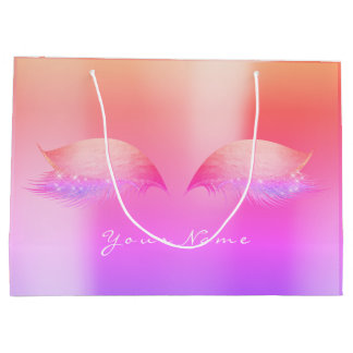 Gold Peach Pink Rose Ombre Lashes Eyes Makeup Large Gift Bag