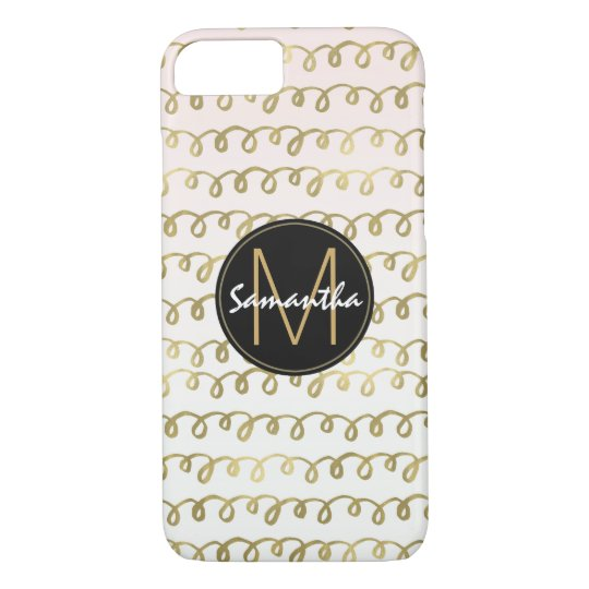 Gold Peach Squiggle Monogram iPhone 8/7 Case