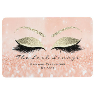 Gold Peach White Makeup Glitter Lashes Beauty Floor Mat