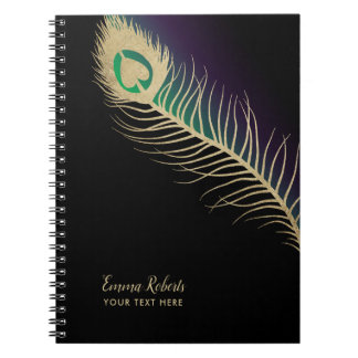 Gold Peacock Bird Feather Black Green & Purple Notebooks