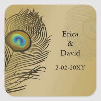gold peacock envelopes seals square sticker