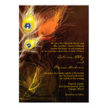 Gold Peacock Feather Flames Fall Wedding Invites