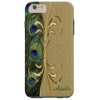 Gold Peacock Feather iPhone 6 Plus Monogram Case
