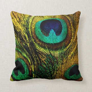 Gold Peacock Feather Pattern Pillow