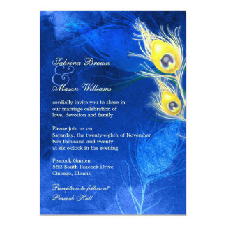 Gold Peacock Feathers Cobalt Blue Wedding Invites
