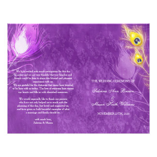 Gold Peacock Feathers Purple Wedding Programs 21.5 Cm X 28 Cm Flyer