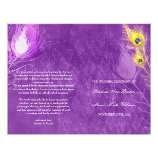 Gold Peacock Feathers Purple Wedding Programs Flyer
