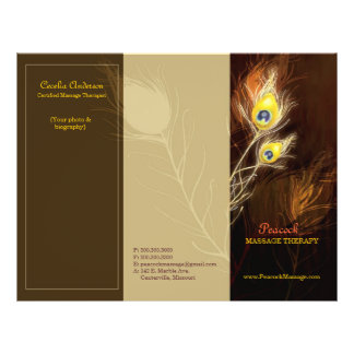 Gold Peacock Feathers Tri Fold Business Brochures 21.5 Cm X 28 Cm Flyer