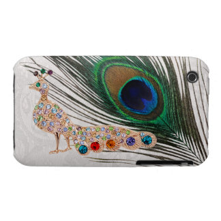 Gold Peacock Jewels & Feather Paisley Lace Case-Mate iPhone 3 Case