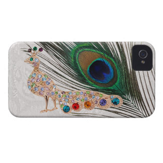 Gold Peacock Jewels & Feather Paisley Lace iPhone 4 Case-Mate Cases