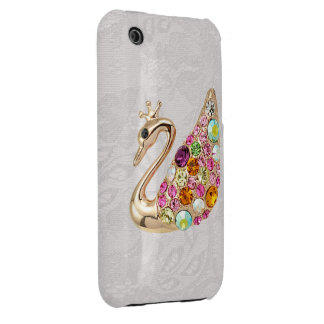 Gold Peacock & Jewels Paisley Lace iPhone 3G Case