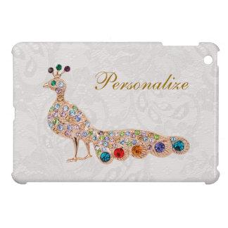 Gold Peacock Jewels Print Personalized iPad Mini iPad Mini Cases