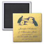 Gold Peacock Save the Date Square Magnet