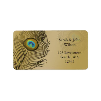 gold peacock wedding address label