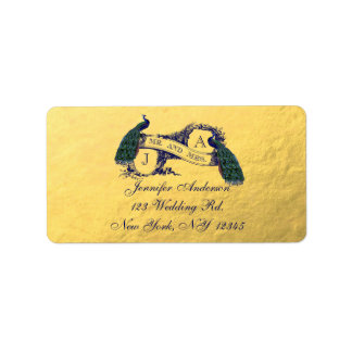 Gold Peacock Wedding RSVP Address Label