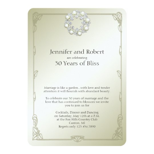 Gold Pearl 30th Wedding Anniversary Invitation