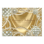 Gold Pearl Birthday Party 13 Cm X 18 Cm Invitation Card