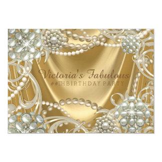 Gold Pearl Birthday Party 13 Cm X 18 Cm Invitation Card