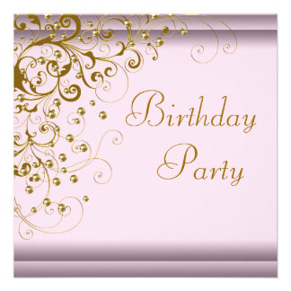 Gold Pearl Swirl Womans Pink Gold Birthday Party Custom Invites