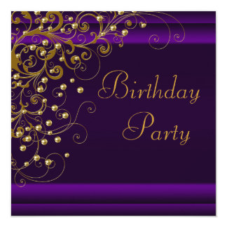 Gold Pearl Swirl Womans Purple Birthday Party Custom Announcement