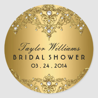 Gold Pearl Vintage Glamour Bridal Shower Sticker