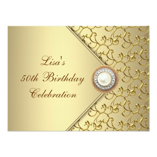 Gold Pearl Womans 50th Birthday Party Card