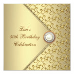 Gold Pearl Womans 50th Birthday Party Personalized Announcements