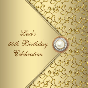 50th birthday invitations announcements zazzle uk gold pearl womans 50th birthday party invitation filmwisefo