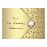 Gold Pearl Womans 50th Birthday Party 14 Cm X 19 Cm Invitation Card