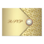 Gold Pearl Womans 50th Birthday Party RSVP 9 Cm X 13 Cm Invitation Card