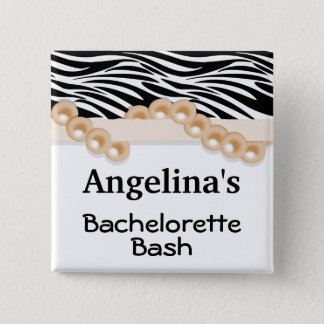 Gold Pearls And Ribbon Guest Party Favor 15 Cm Square Badge
