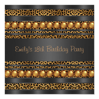 Gold Pearls Leopard Girls 18th Birthday Party 13 Cm X 13 Cm Square Invitation Card