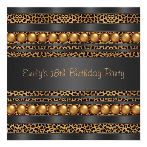 Gold Pearls Leopard Girls 18th Birthday Party Personalized Invitation