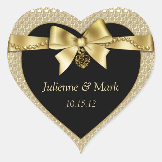 Gold Pearls Ribbon on Black Heart Heart Sticker