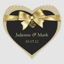 Gold Pearls Ribbon on Black Heart Heart Stickers