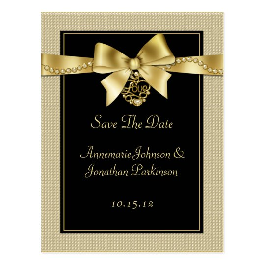 Gold Pearls Ribbon on Black Save The Date