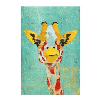 Gold Peeking Giraffe Art Canvas