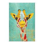 Gold Peeking Giraffe Art Canvas Canvas Print