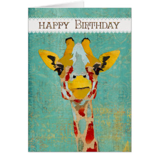 Gold Peeking Giraffe  Birthday Card