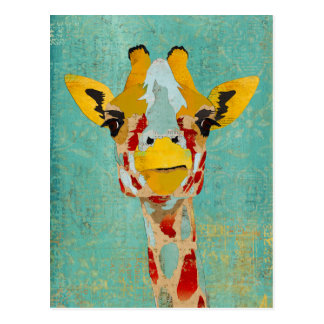 Gold Peeking Giraffe  Postcard