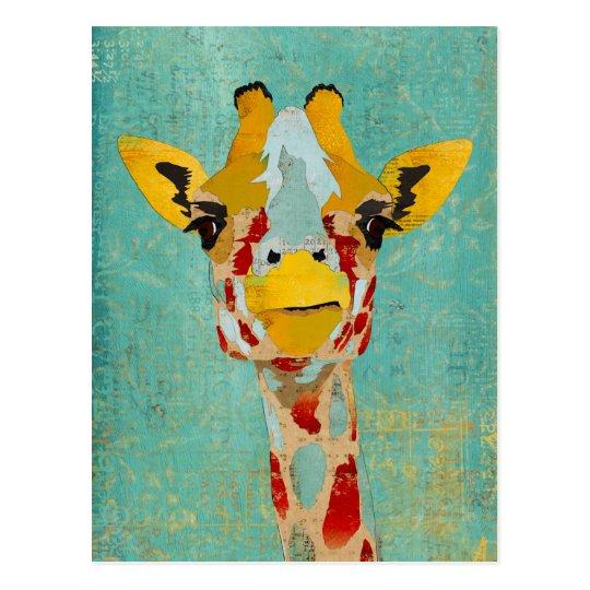 Gold Peeking Giraffe Postcard