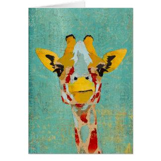 Gold Peeking Giraffes  Notecard