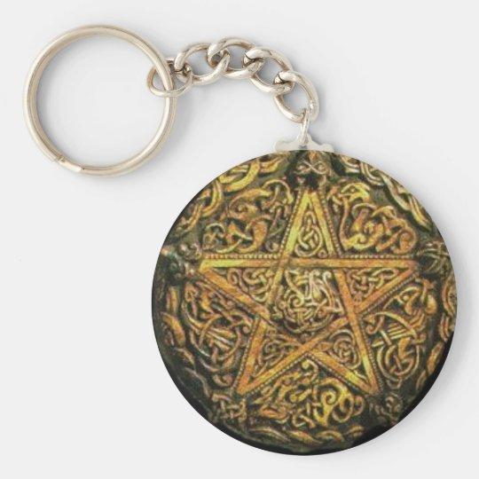 Gold Pentacle Basic Round Button Key Ring
