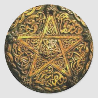 Gold Pentacle Classic Round Sticker